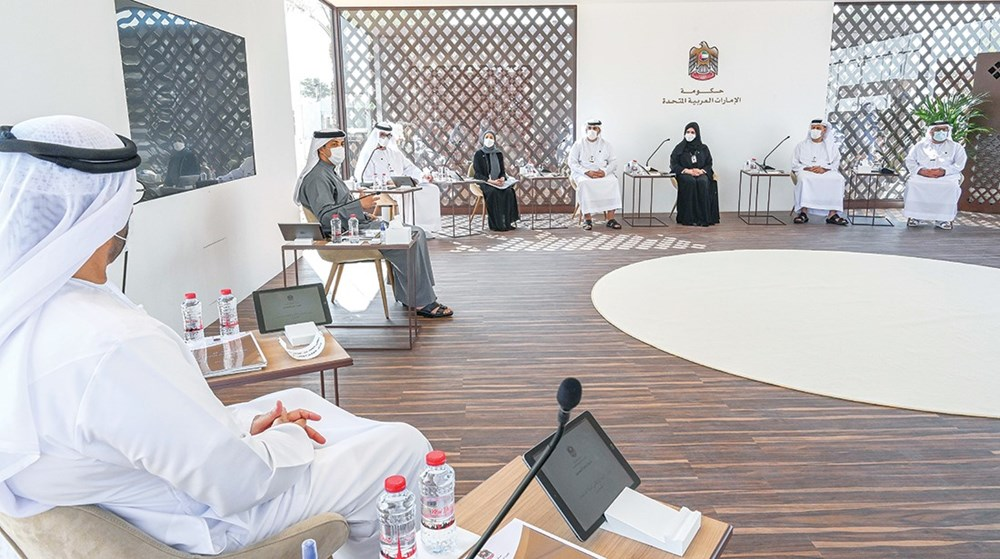 Mansour bin Zayed during the meeting in the presence of Mohammed Al Gergawi, Sultan Al Jaber, Ohoud Al Roumi and a number of senior officials