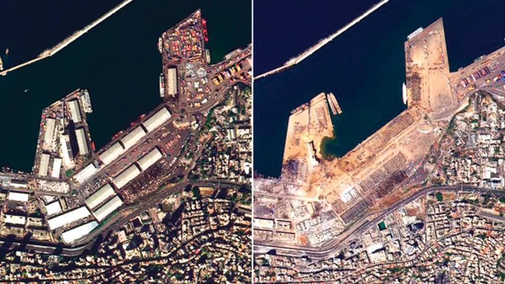 ميناء بيروت قبل وبعد الانفجار الذي تعرض له مؤخراً في صورة التقطها «خليفة سات» (من المصدر)